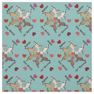 Babies Mandala and Hearts on Robins Egg Blue Fabric