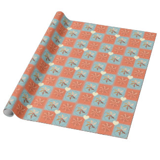 Babies Mandala on Coral + Blue Patchwork Stitched Wrapping Paper