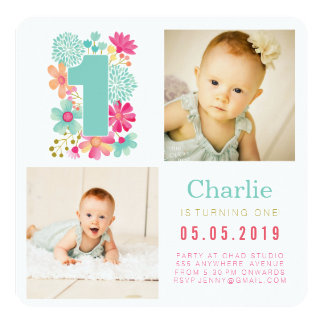 Babies Number 1 1st Birthday Photo Cards