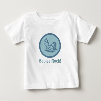 Babies Rock! Rocking Horse (aqua blue) Baby T-Shirt