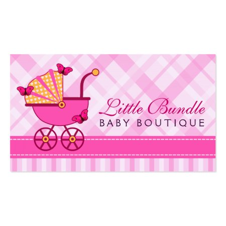 Pink and Yellow Baby Stroller or Pram with Butterflies Plaid and Stripes Baby Store Business Cards