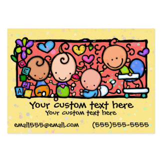 Babies Toddlers Daycare Nursery YELLOW Large Business Cards (Pack Of 100)