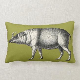 Babirusa Wild Pig Boar Hog Warthog Vintage Lumbar Pillow