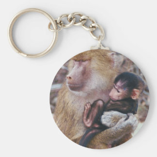Baboon and Baby Basic Round Button Keychain