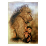Baboon & Baby Prints Card
