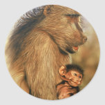 Baboon & Baby Prints Round Stickers