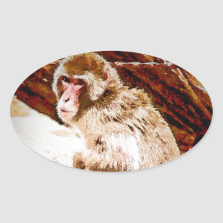 Baboon Cartoon Oval Sticker