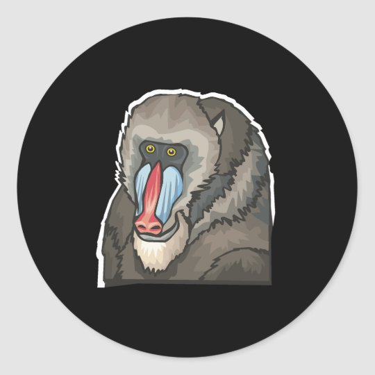 baboon classic round sticker