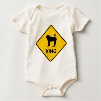 Baboon Crossing Highway Sign Baby Bodysuit