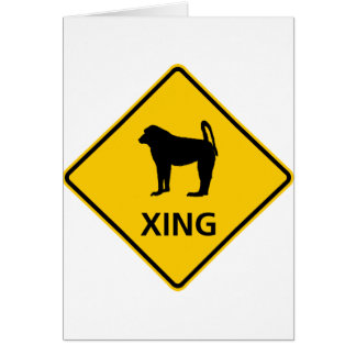Baboon Crossing Highway Sign Card