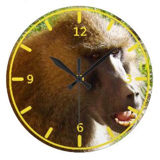 Baboon Face Showing Teeth Large Clock