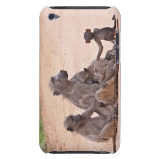 Baboon family sitting on ground iPod touch case