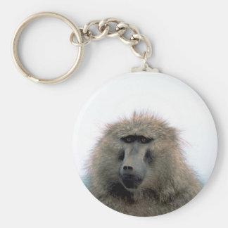 Baboon Basic Round Button Keychain