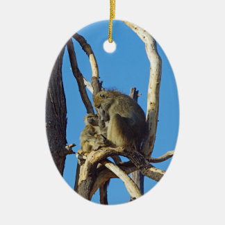 Baboon Mom and Baby Ceramic Ornament