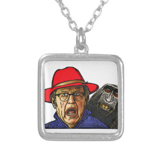Baboon monkey scares English old man Silver Plated Necklace