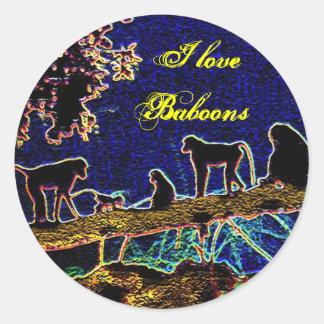 Baboon on Tree from Junglewalk,com Classic Round Sticker