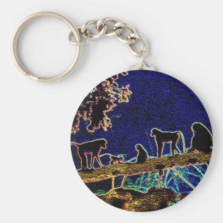 Baboon on Tree from Junglewalk,com Basic Round Button Keychain