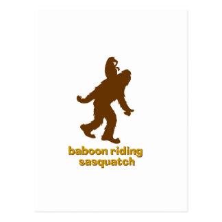 Baboon Riding Sasquatch Postcard