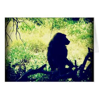 Baboon Silhouette Card