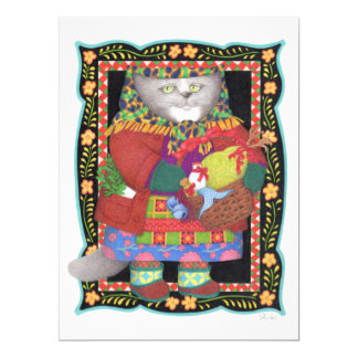 "Baboushka Cat 6.5"" x 8.75"" Invitation/Flat Card"