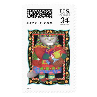 Baboushka Kitty Large Postcard Stamps
