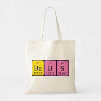 Babs periodic table name tote bag