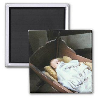 Babt Doll in Cradle 2 Inch Square Magnet