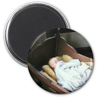 Babt Doll in Cradle 2 Inch Round Magnet