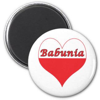 Babunia Polish Heart 2 Inch Round Magnet