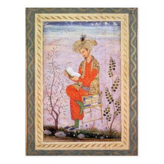 Babur  Reading, Mughal Postcard