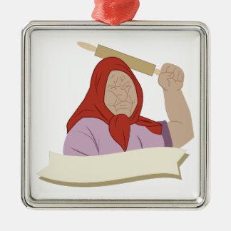 Babushka Grandma Metal Ornament