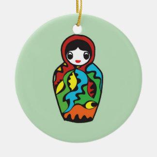Babushka Matryoshka Christmas - hand drawn artwork Ceramic Ornament