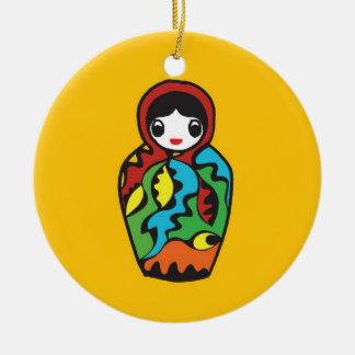 Babushka - Matryoshka Christmas - hand drawn Ceramic Ornament