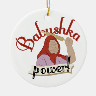 Babushka Power Ceramic Ornament