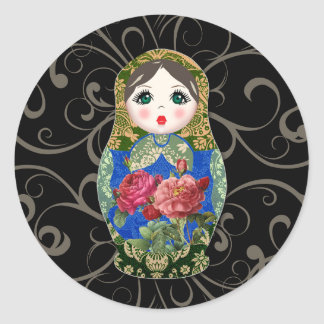Babushka Russian Doll Colourful Bold Rose Flower 2 Classic Round Sticker