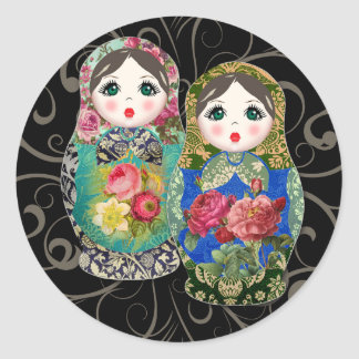 Babushka Russian Doll Colourful Bold Rose Flower 3 Classic Round Sticker