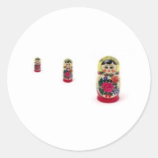babushka round stickers