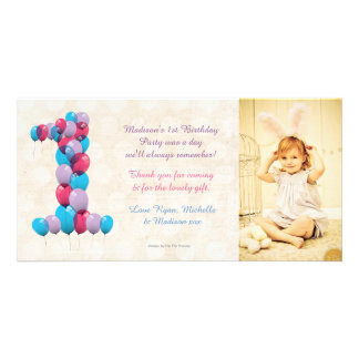 Baby 1st Birthday Balloons Thank You Photo Card