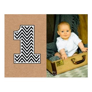 Baby 1st Birthday Chevron Thanks Photo Postcard