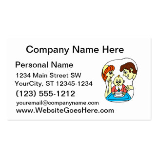 Baby 1st birthday graphic with family business card