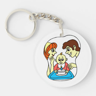 Baby 1st birthday graphic with family keychain