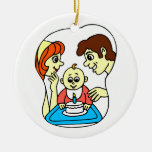 Baby 1st birthday graphic with family christmas tree ornament