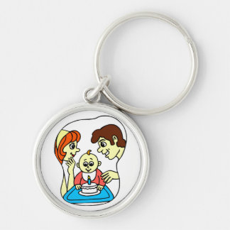 Baby 1st birthday graphic with family Silver-Colored round keychain