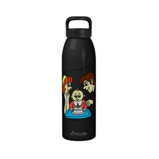 Baby 1st birthday graphic with family reusable water bottles