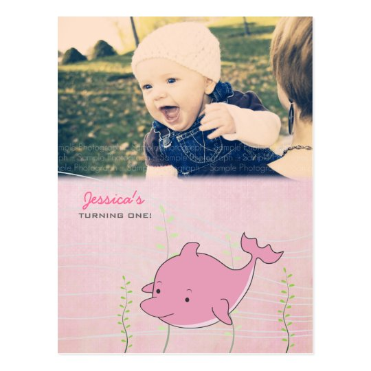 Baby 1st Birthday Party Dolphin Invite Card