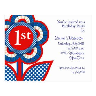 Baby 1st Birthday Postcard Invitation in July
