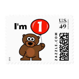 Baby 1st birthday stamps | Teddy bear with balloon