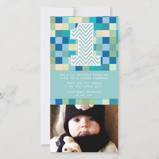 Baby 1st Birthday Thank You Photo Card Note Zazzle