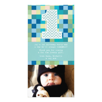 Baby 1st Birthday Thank You Photo Card Note
