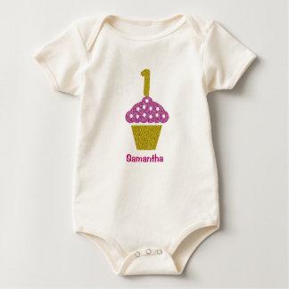Baby 1ST Birthday with Glitter Cupcake Bodysuit
